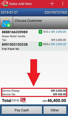 Service Charge and Service Tax in Sales Transaction iREAP POS PRO
