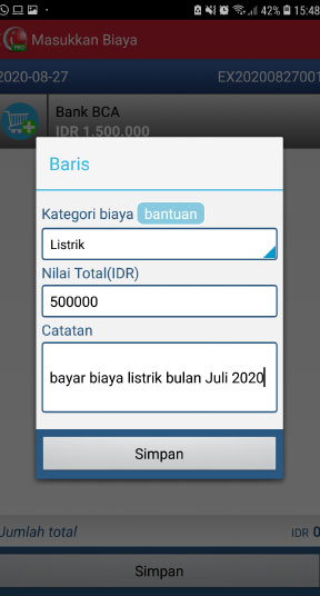 Masukan biaya kas bank aplikasi pos mobile android iREAP PRO