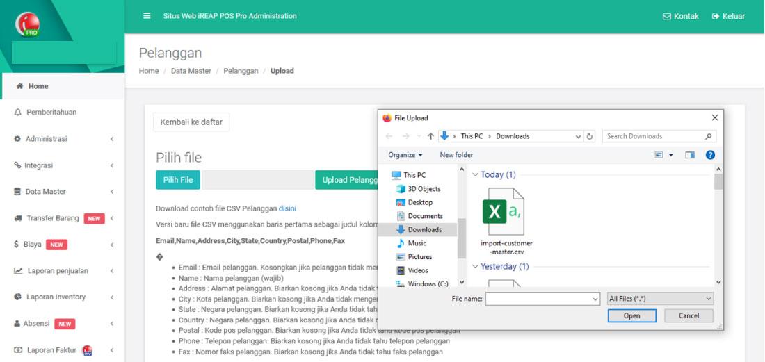 Mengupload CSV File Data Pelanggan Pada Aplikasi Kasir iREAP POS PRO Melalui Web Administrator