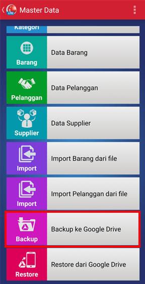 Menu backup data ke Google Drive aplikasi kasir iREAP POS LITE
