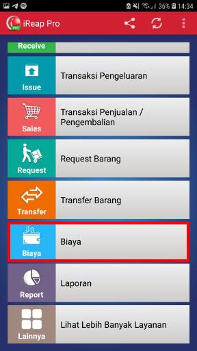 Masuk ke menu biaya pada aplikasi kasir toko iREAP POS Pro