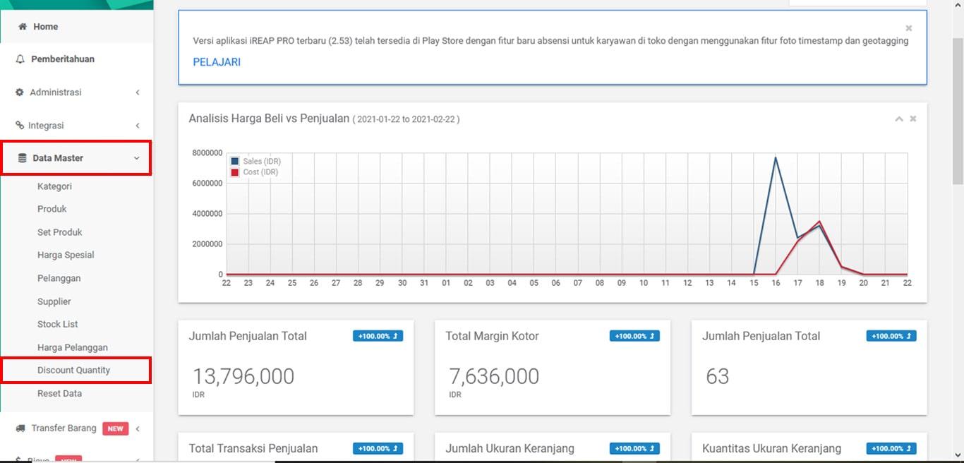 Menu Discount Quantity iREAP POS Pro Web Admin