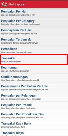 Menu Laporan Transaksi pada aplikasi kasir iREAP POS PRO