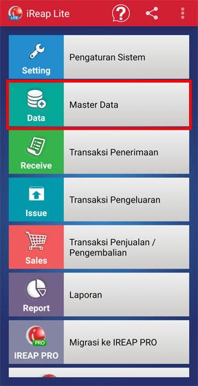Menu Master Data aplikasi kasir iREAP POS LITE