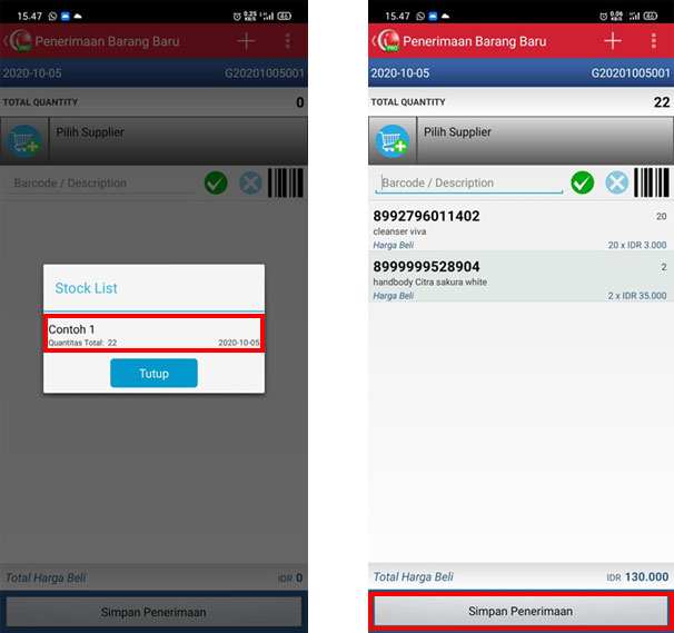 Menyimpan penerimaan barang baru melalui load stock list aplikasi kasir iREAP Pos Pro