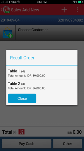 Recall Order in iREAP POS PRO