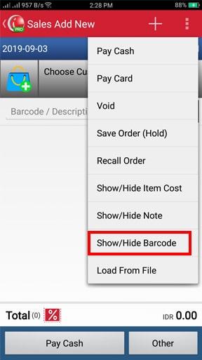 iREAP POS Bagaimana cara Show Barcode
