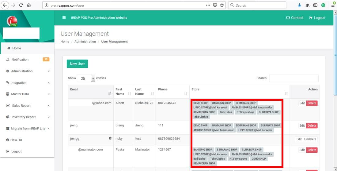 User Baru Sudah Berhasil Masuk List Pengguna di iREAP POS PRO APPS