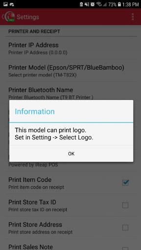 Notification wifi/lan printer epson tm-t82x support print logo on mobile casher iREAP