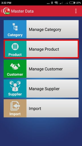 Go To Manage Product Menu