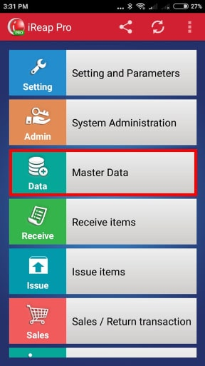 Master Data Menu iREAP POS PRO