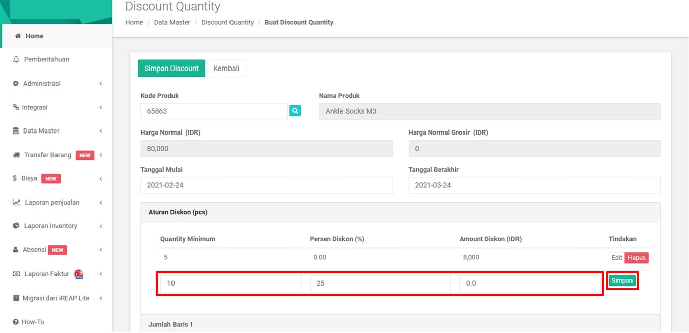 Pengaturan Minimum Discount Quantity di Aplikasi Kasir Android iREAP POS PRO Web Admin