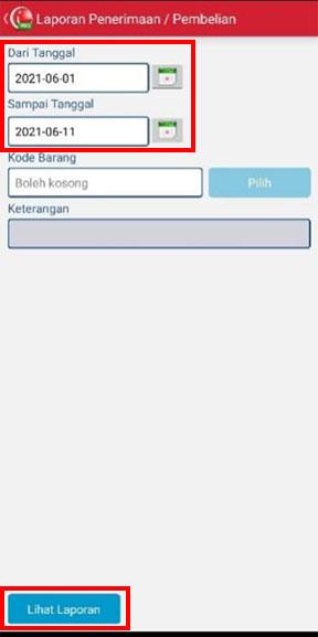 Pengaturan tanggal untuk melihat Penerimaan/Pembelian Perhari pada aplikasi kasir iREAP POS PRO