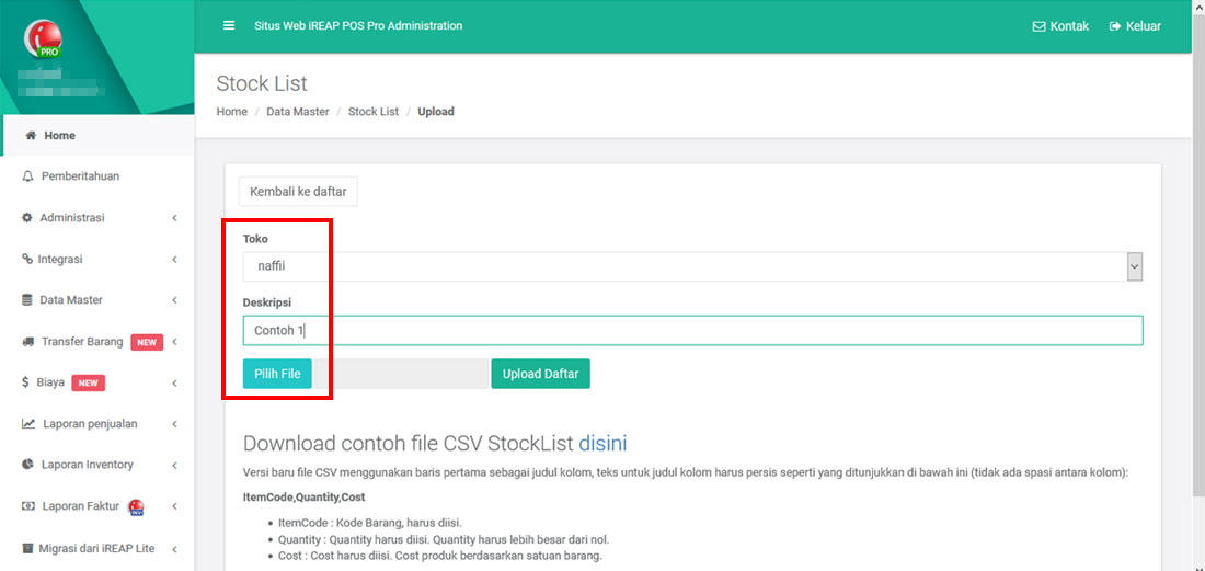 Upload Stock List dari Stock Count ke aplikasi Kasir iREAP POS PRO