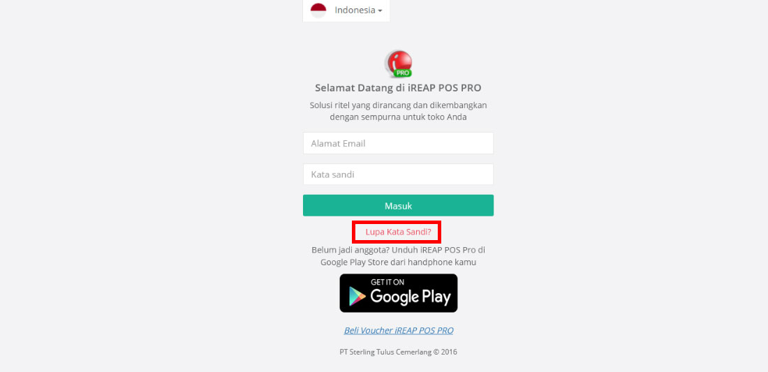 Step 2 pilih lupa kata sandi - Cara Reset Password Administrator User Di Web Administrator iREAP POS Pro