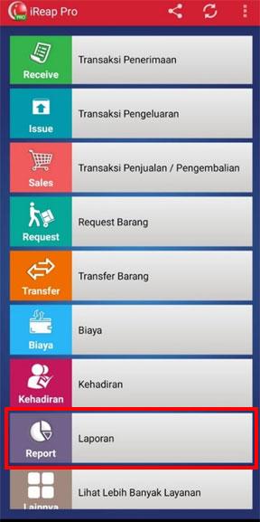 Pilih menu laporan untuk melihat laporan pembayaran per hari pada aplikasi kasir pos iREAP PRO
