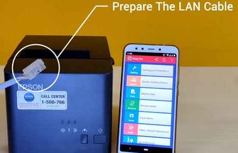 Prepare the LAN cable to setting WIFI/LAN Printer Epson TM-T82X