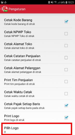 Step 7 print struk nota penjualan dengan logo di aplikasi kasir mobile android iREAP POS