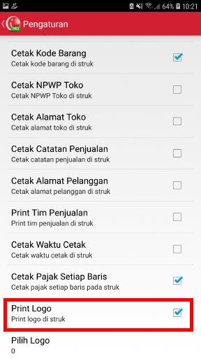 Step 6 print struk nota penjualan dengan logo di aplikasi kasir mobile android iREAP POS