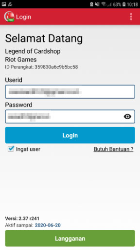 Login dengan User Name dan Password