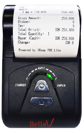 Nyalakan mesin printer bluetooth BellaV ZCS103