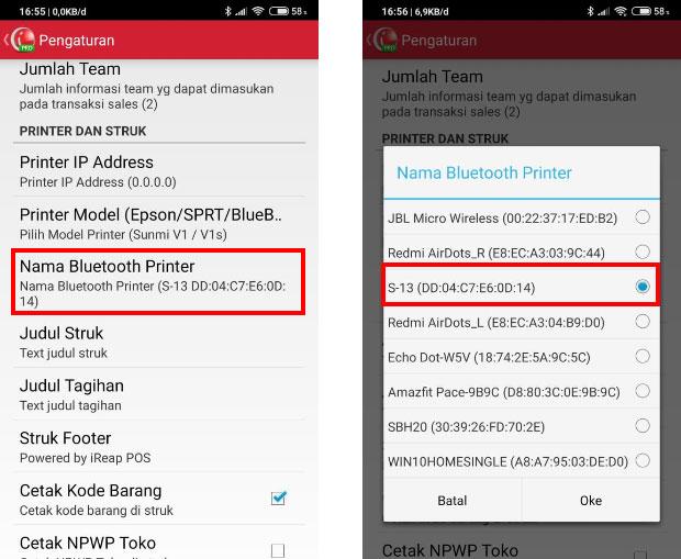 Tekan Printer Bluetooth Name, lalu pilih printernya setelah dipilih tekan OK