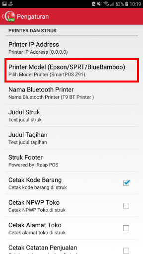 Scroll kebawah sampai Anda menemukan menu Printer Model, klik menu tersebut