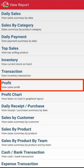 Profit Report Menu on Mobile Cashier iREAP POS PRO