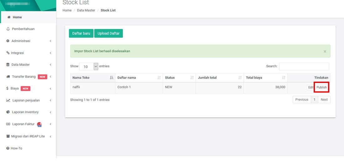 Upload hasil opname Stock List barang dari aplikasi Stock Count ke web admin iREAP POS PRO