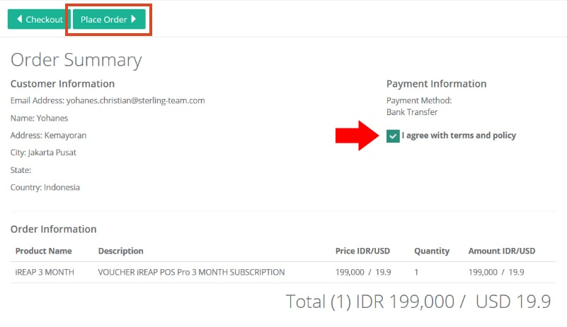 Purchase Voucher iREAP POS Pro - Payment Information