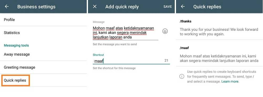 quick reply message