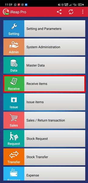 Receipt Item Menu in Mobile Cashier iREAP POS PRO