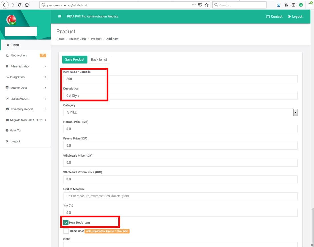 Create Item / Service iREAP POS