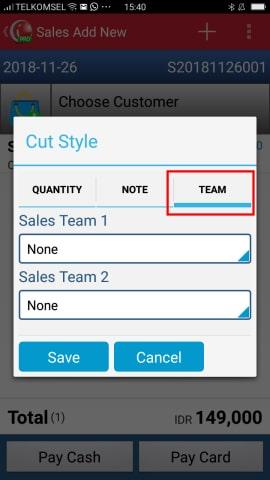 Sales Team Entry iREAP POS Pro