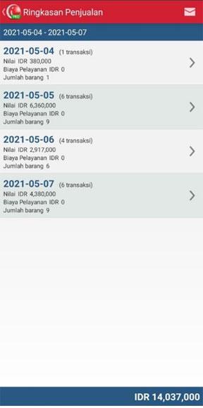 Ringkasan penjualan iREAP POS PRO Via Mobile