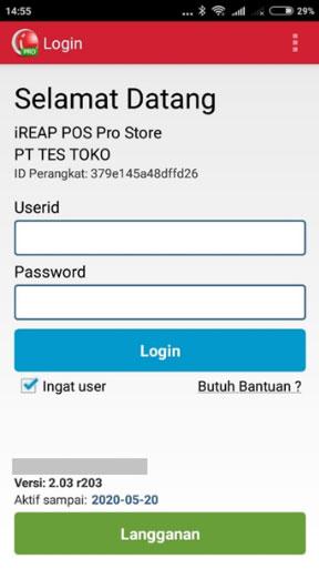 Langkah Membuat Transaksi Pengembalian di iREAP POS PRO - Buka Aplikasi iREAP POS Pro dan Login