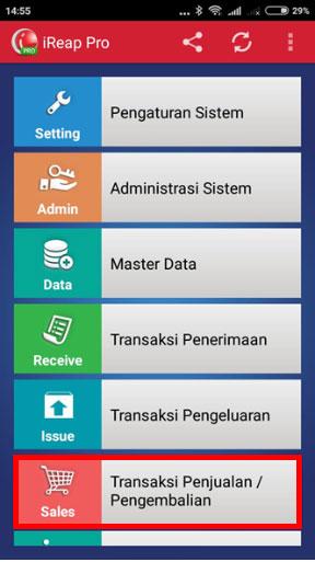 Langkah Membuat Transaksi Pengembalian di iREAP POS PRO - Masuk Ke Menu Transaksi Penjualan / Pengembalian