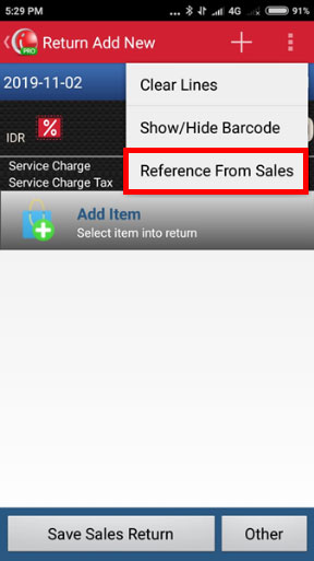 Create Sales Return in iREAP POS PRO - Choose Reference from Sales