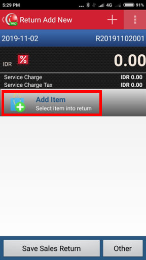 Create Sales Return in iREAP POS PRO - Click Add Item to Select Item You Want to Return