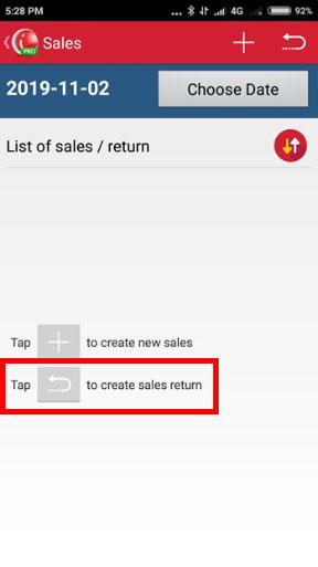 Create Sales Return in iREAP POS PRO - Click Button Create Sales Return