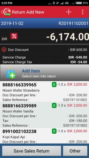 Create Sales Return in iREAP POS PRO - Save Sales Return