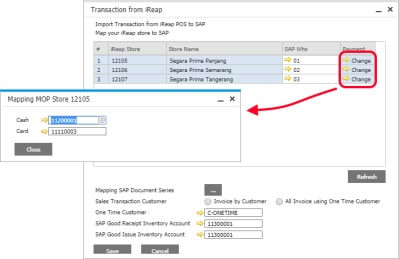 iREAP POS Pro Integration SAP Business One Hana on Cloud - Mapping GL Account Payment by Cash and Card for Each Store