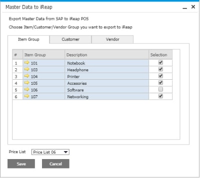 iREAP POS Pro Integration SAP Business One Hana on Cloud - Master Data