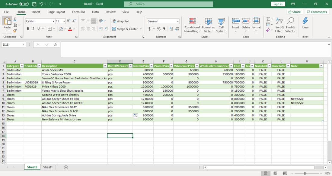 Save Excel - create data from excel to mobile cashier android iREAP POS