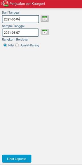 Set tanggal untuk melihat penjualan by Category pada aplikasi kasir iREAP POS PRO