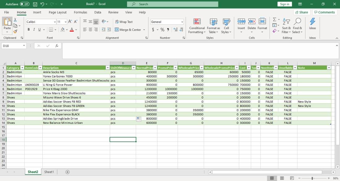 Simpan Excel - Pembuatan data barang dari excel untuk aplikasi kasir iREAP POS
