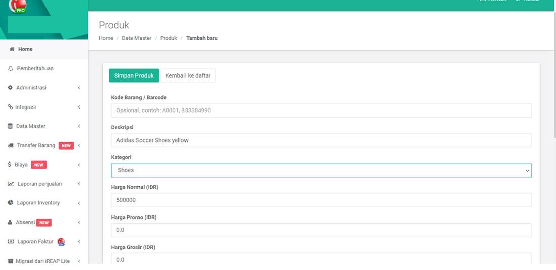 Isi Data Barang untuk Produk Baru di iREAP POS PRO web admin