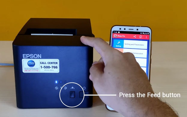 Press button Feed to print IP Address setting