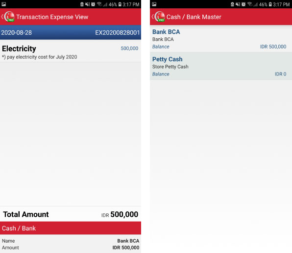 Transaction expense view mobile cashier android iREAP POS Pro