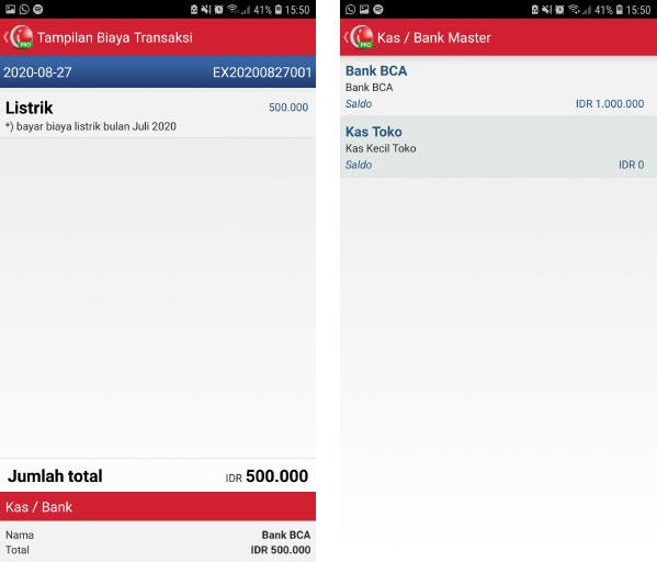 biaya kas/bank aplikasi mobile pos ireap pro